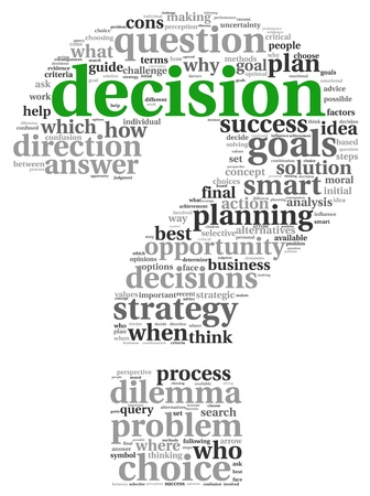 Döntéshozatali fogalom tag felhő, fehér háttér