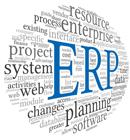 enterprise resource planning: Enterprise Resource Planning System CRM in word tag cloud