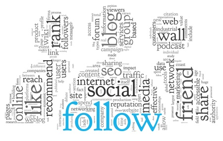 Social media and follow concept in word tag cloud on white background Stock Photo - 18952253