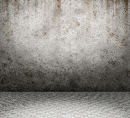 Grunge interior with metal floor and concrete wall userful as background photo