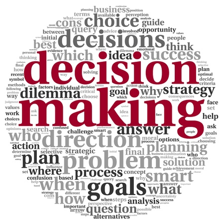 difficult decision: Decision making concept in tag cloud on white background Stock Photo