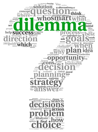 Dilemma és a döntéshozatal fogalom tag felhő, fehér háttér