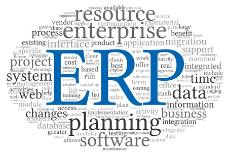 Enterprise Resource Planning System CRM in word tag cloud Stock fotó - 19089894