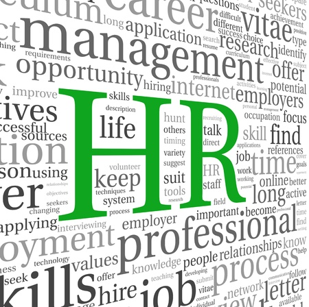 resources: HR - human resources concept in tag cloud on white background