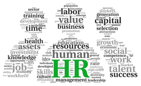 human resource: HR - human resources concept in tag cloud on white background