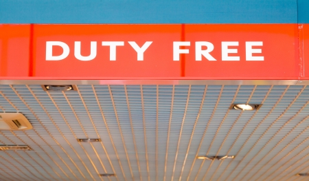 reduced value: Duty free shop on airport - red advertising