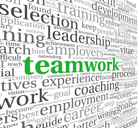 business team: Teamwork and strategy concept in word tag cloud Stock Photo