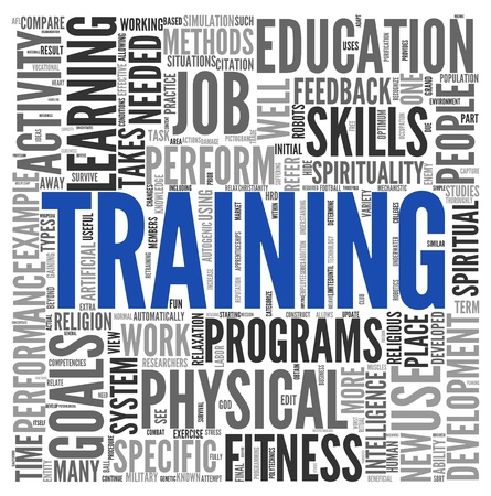training computer: Training and education related words concept in tag cloud