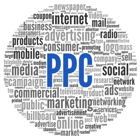 public market sign: PPC and advertising concept in word tag cloud on white