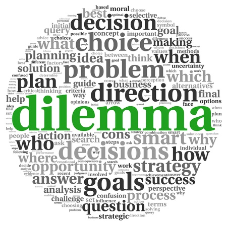 dilemma: Dilemma and decision making concept in tag cloud on white background