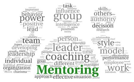 Mentori és csapatmunka fogalma Word tag felhő fehér