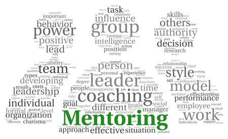 mentoring: Mentoring and teamwork concept in word tag cloud on white