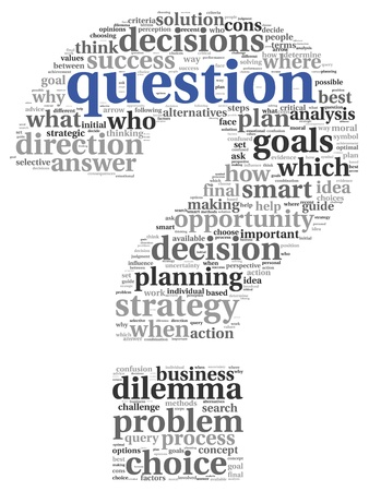 difficult to find: Question and decision making concept in tag cloud on white background