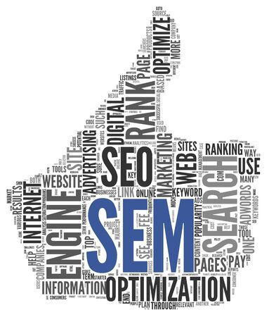 search marketing: Search engine marketing SEM concept in word tag cloud on white background
