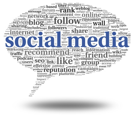 Social media concept in word tag cloud of think bubble Stock Photo - 19257998