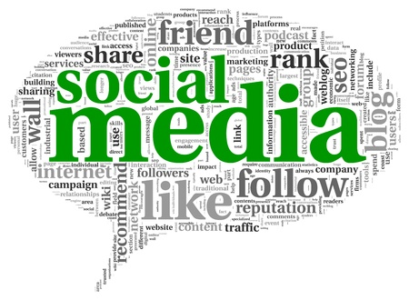 Social media concept in word tag cloud on white background Stock Photo - 19257993