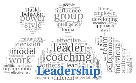 Leadership and teamwork concept in word tag cloud on white photo