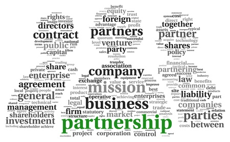 venture: Partnership and business concept in tag cloud on white