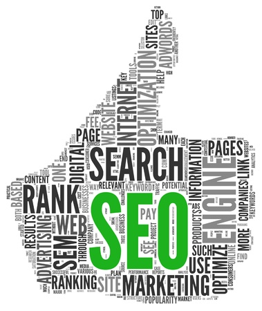thumbup: Search engine marketing SEM concept in word tag cloud on white background