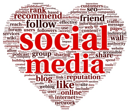 Social media love concept in word tag cloud of think bubble photo