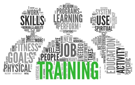 required: Training and education related words concept in tag cloud