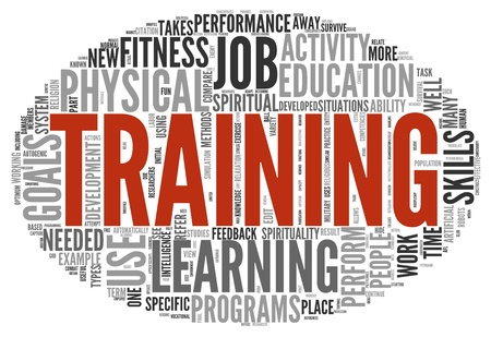computer training: Training and education related words concept in tag cloud