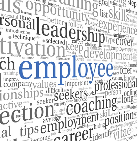 employee development: Emplyee and recruitment concept in word tag cloud on white Stock Photo