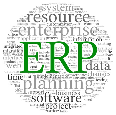 Enterprise Resource Planning rendszer CRM a szót címkefelhő Stock fotó