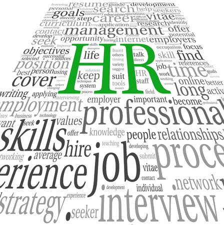 hr: HR - human resources concept in tag cloud on white background