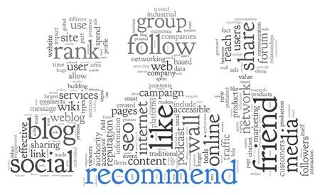 Los medios sociales y recomiendan concepto de palabra nube de etiquetas en el fondo blanco Foto de archivo