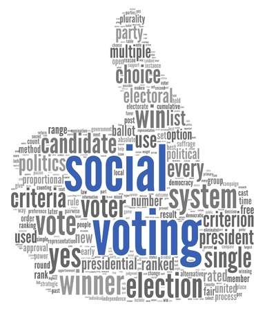 election debate: Social media voting  concept in word tag cloud on white background Stock Photo