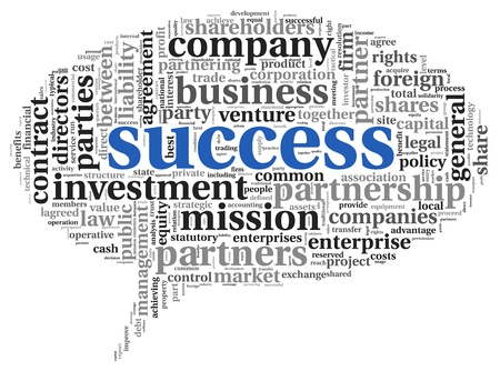 Success concept related words in tag cloud isolated on white photo