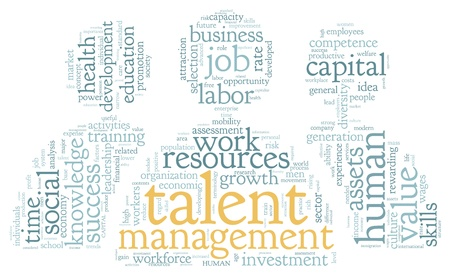 resources: Talent management concept in word tag cloud on white background Stock Photo
