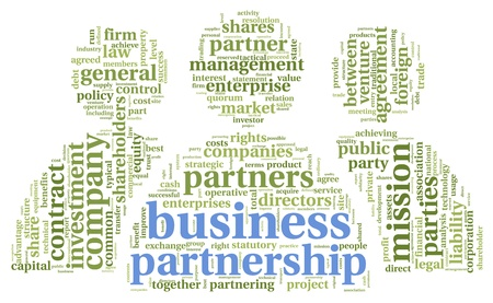 venture: Business partnership  concept in tag cloud on white