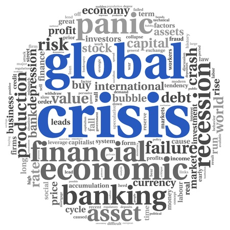 global crisis: Global crisis concept in info-text graphics on white background Stock Photo