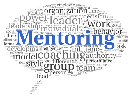 Mentoring and teamwork concept in word tag cloud on white photo