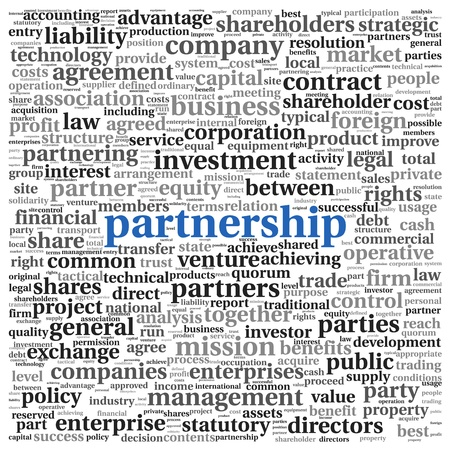 business partnership: Partnership and business concept in tag cloud on white