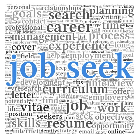 Job seek concept in word tag cloud on white background photo