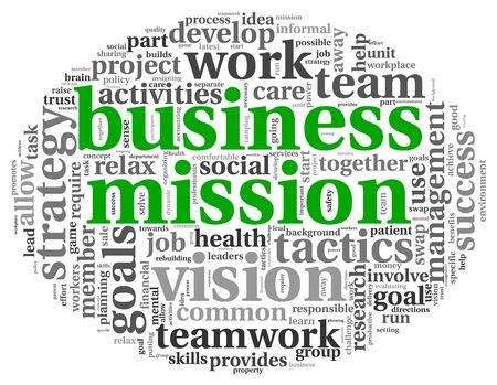 Business mission and strategy concept in word tag cloud