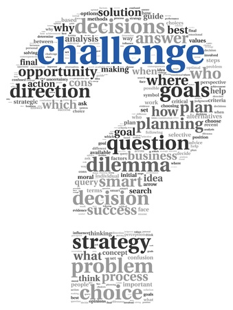 question: Challenge concept in word tag cloud of question mark shape