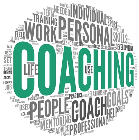 cloud tag: Coaching concept related words in tag cloud isolated on white Stock Photo