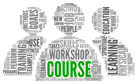 Course and training related words concept in tag cloud Stock Photo