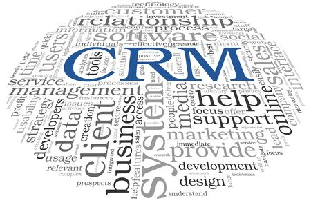 cloud tag: Customer Relationship Management System CRM in word tag cloud Stock Photo