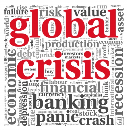 Global crisis concept in word tag cloud on white background