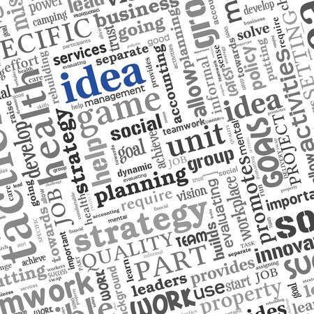 Idea and business concept related words in tag cloud on white Stock Photo