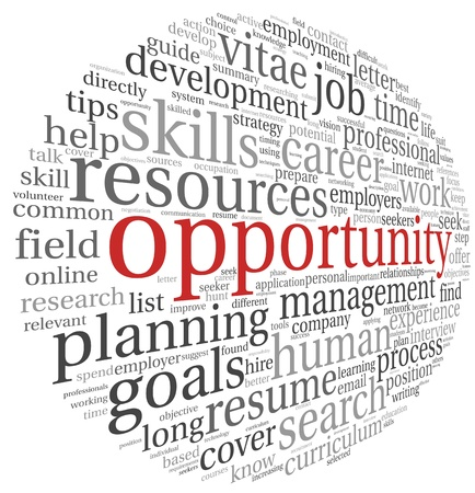 Opportunity and success concept in word tsg cloud on white Stock Photo