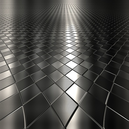Dark metal silver checked pattern background with perspective