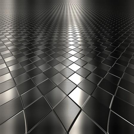 Metallo argento scuro controllata motivo di sfondo con la prospettiva Archivio Fotografico - 62366781