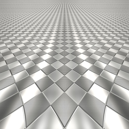 checked background: Metal silver checked pattern background od texture with perspective