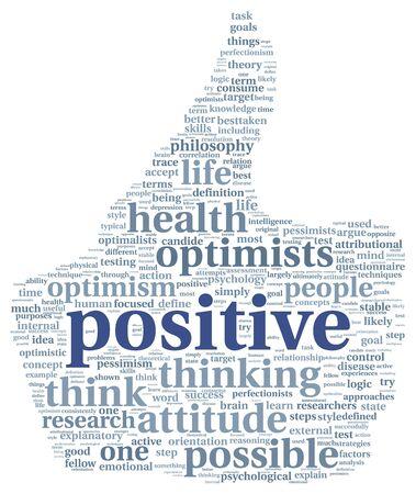 optimismo: concepto positivo y la mentalidad de palabra nube de etiquetas